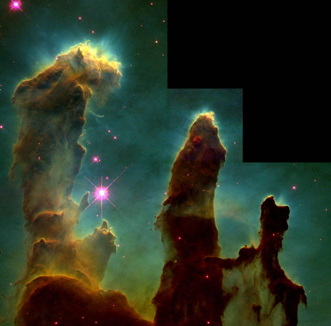 These columns that resemble stalagmites protruding from the floor of a cavern columns are in fact cool interstellar hydrogen gas and dust that act as incubators for new stars. Inside them and on their surface astronomers have found knots or globules of den